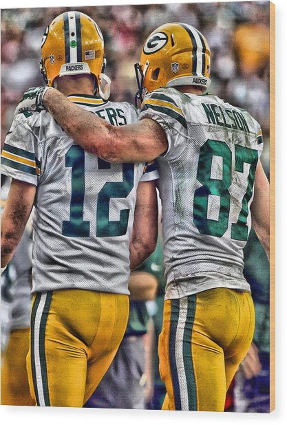 Aaron Rodgers Jordy Nelson Green Bay Packers Art Wood Print