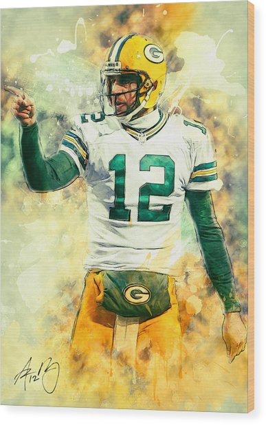 Aaron Rodgers Wood Print