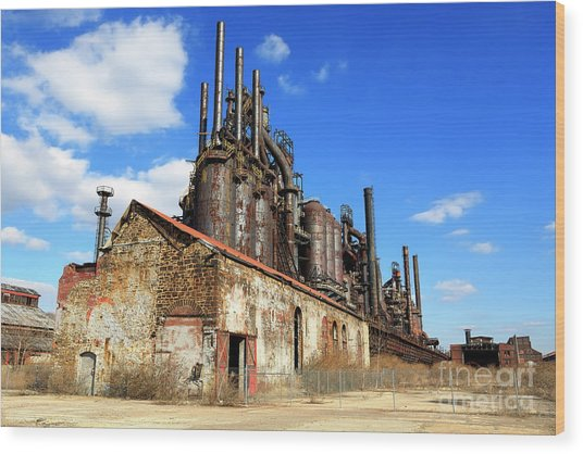 Abandoned Bethlehem Steel Wood Print