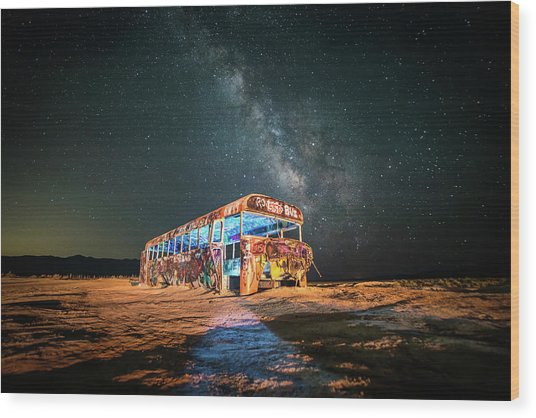 Abandoned Bus Under The Milky Way Wood Print