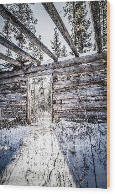 Abandoned Cabin Wood Print by Bryan Moore