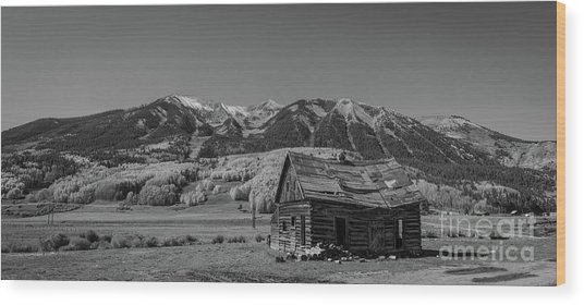 Abandoned Cabin Near Crested Butte Bw Wood Print