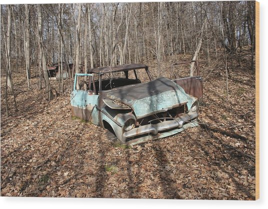 Abandoned Car 1 Wood Print