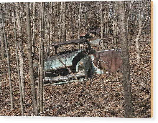 Abandoned Car 2 Wood Print