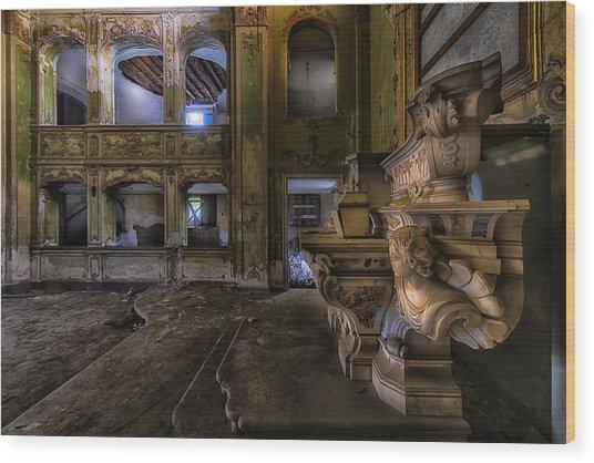 Wood Print featuring the photograph Abandoned Chapel Of An Important Liguria Family II - Cappella Abbandonata Di Famiglia Ligure 2 by Enrico Pelos