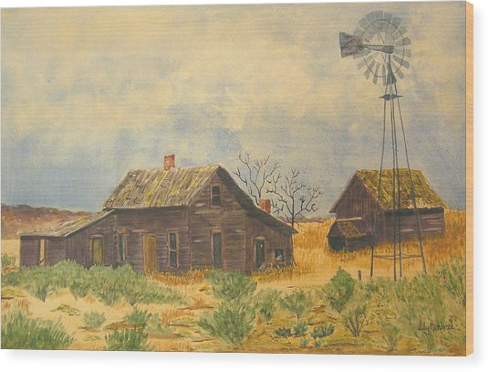 Abandoned Farm Wood Print by Ally Benbrook