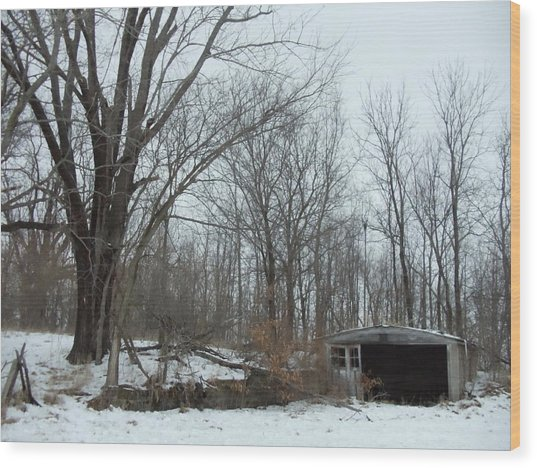 Abandoned Farm Wood Print by David Junod