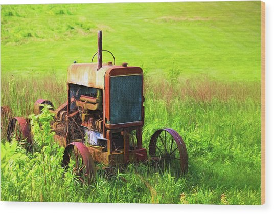 Abandoned Farm Tractor Wood Print