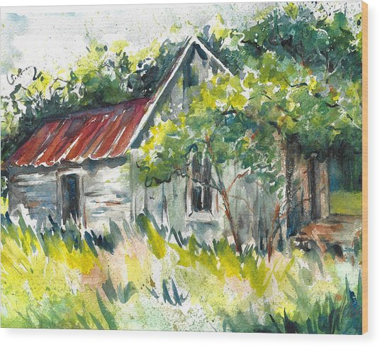 Abandoned Farmhouse In The Ozark Mountains On The Gravel Road To Hawk's Bill Crag At Whitaker Point Wood Print