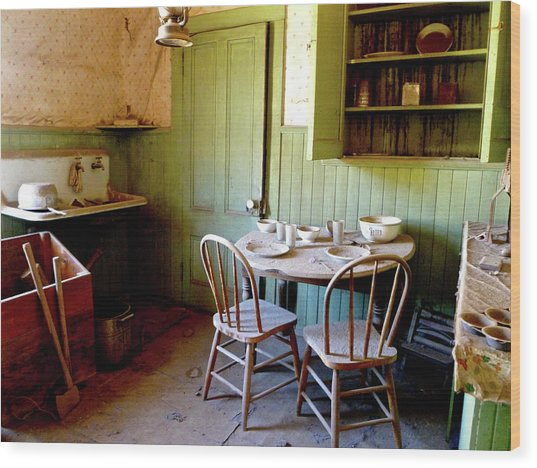 Abandoned Kitchen Wood Print