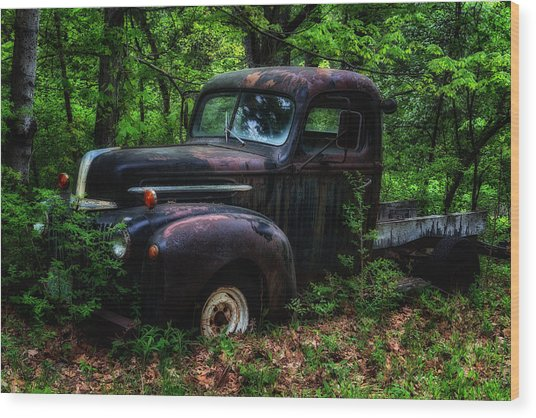 Abandoned - Old Ford Truck Wood Print