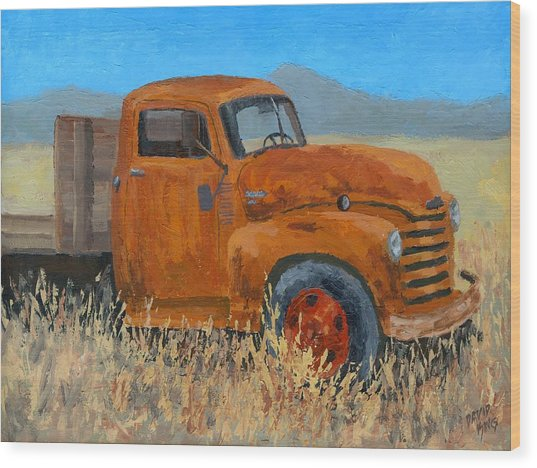Abandoned Orange Chevy Wood Print