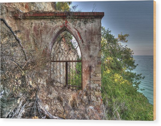 Abandoned Places Iron Gate Over The Sea - Cancellata Sul Mare Wood Print