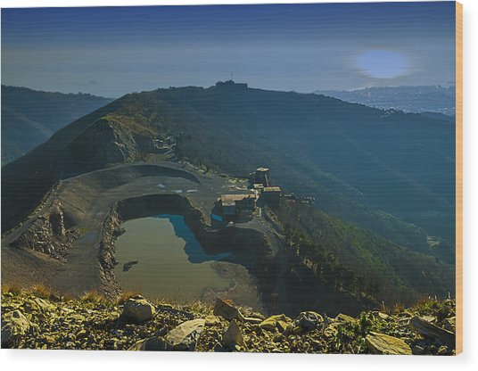 Wood Print featuring the photograph Abandoned Quarry With Lake Sea And Genoa Panorama by Enrico Pelos