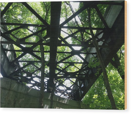 Abandoned Railroad Bridge Wood Print