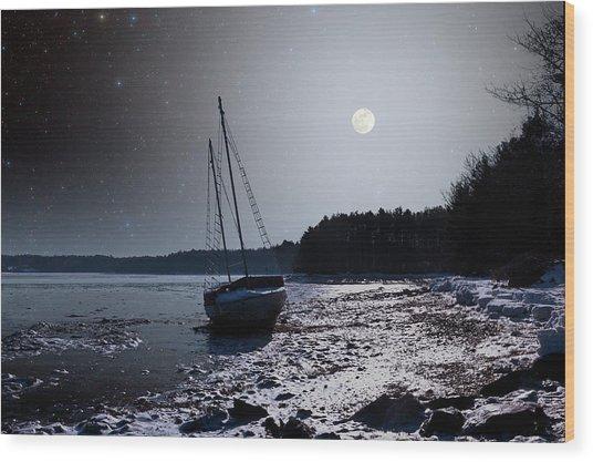 Abandoned Sailboat Wood Print