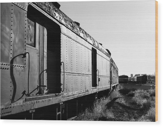 Abandoned Train Cars Wood Print