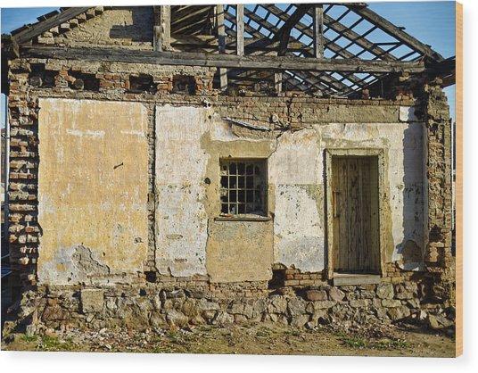 Abandoned Train Depot Wood Print
