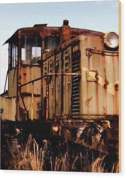 Abandoned Train Wood Print by Jen McKnight