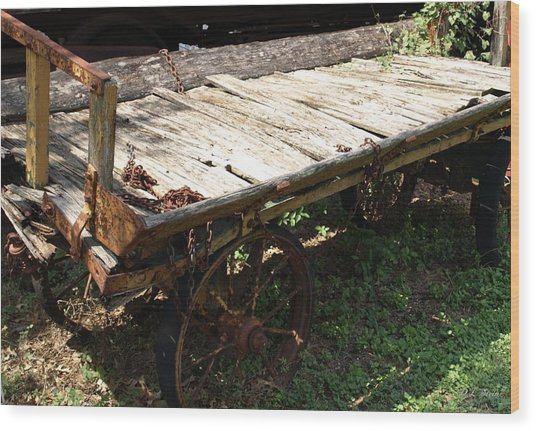 Abandoned Wagon Wood Print by Dennis Stein
