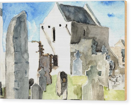 Abbey Watercolor Wood Print