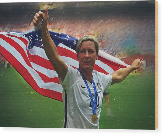 Abby Wambach Us Soccer Wood Print