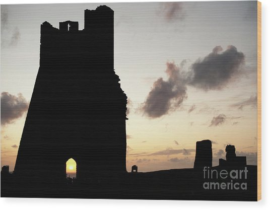 Aberystwyth Castle Tower Ruins At Sunset, Wales Uk Wood Print