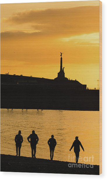 Aberystwyth Sunset Silhouettes Wood Print