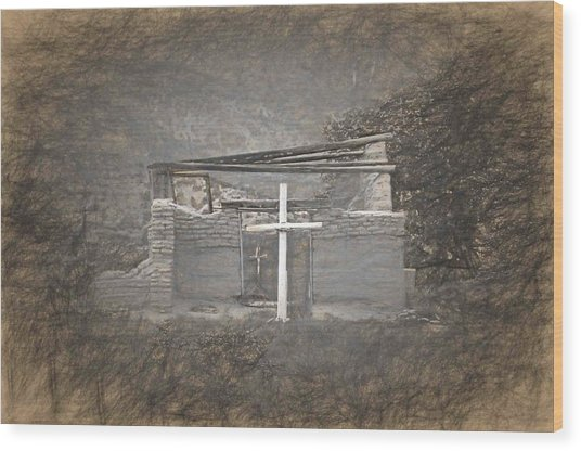 Abiquiu Nm Church Ruin Wood Print