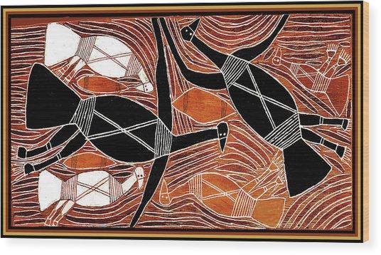 Aboriginal Birds Wood Print