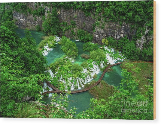 Above The Paths And Waterfalls At Plitvice Lakes National Park, Croatia Wood Print