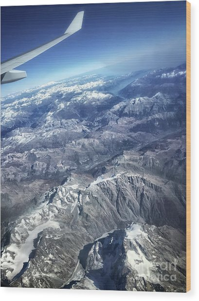 above the Swiss Alps Wood Print by HD Connelly
