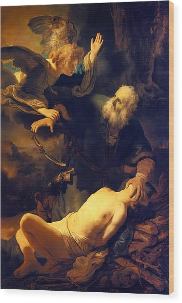 Abraham And Isaac Wood Print