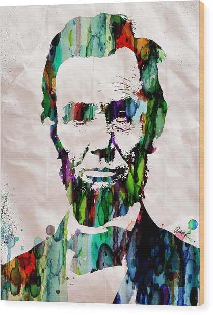 Abraham Lincoln Art Watercolor Wood Print