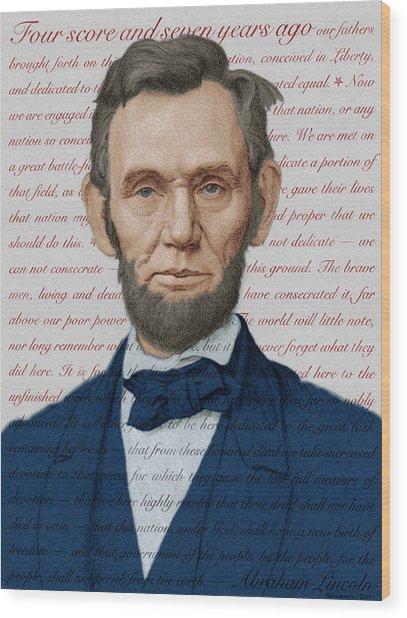 Abraham Lincoln - Patriotic Palette Wood Print