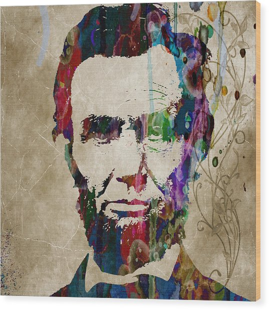 Abraham Lincoln Watercolor Modern Abstract Pop Art Color Wood Print