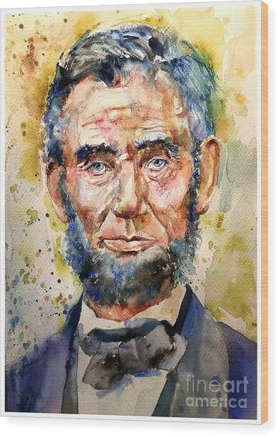 Abraham Lincoln Watercolor Wood Print