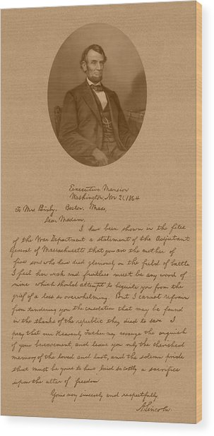 Abraham Lincoln's Letter To Mrs. Bixby Wood Print