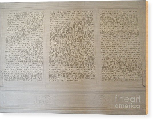 Abraham Lincoln's Second Inaugural Address Wood Print