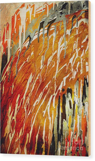 Wood Print featuring the painting Abstract A162916 by Mas Art Studio