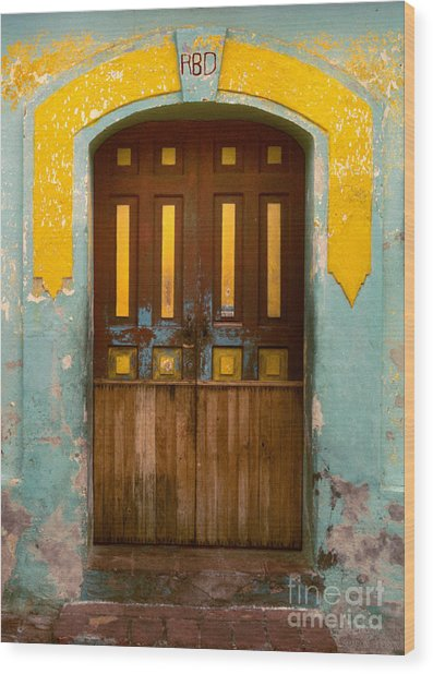 abstract architecture photograph - Door with Yellow Bars Wood Print