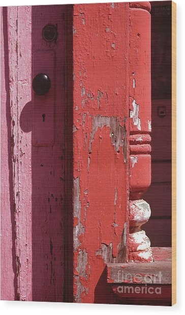 abstract architecture - Red Door Wood Print