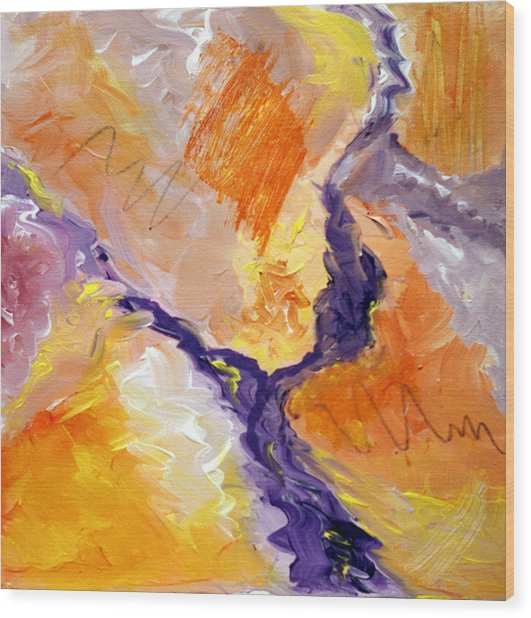 Abstract Art - Fire River Wood Print