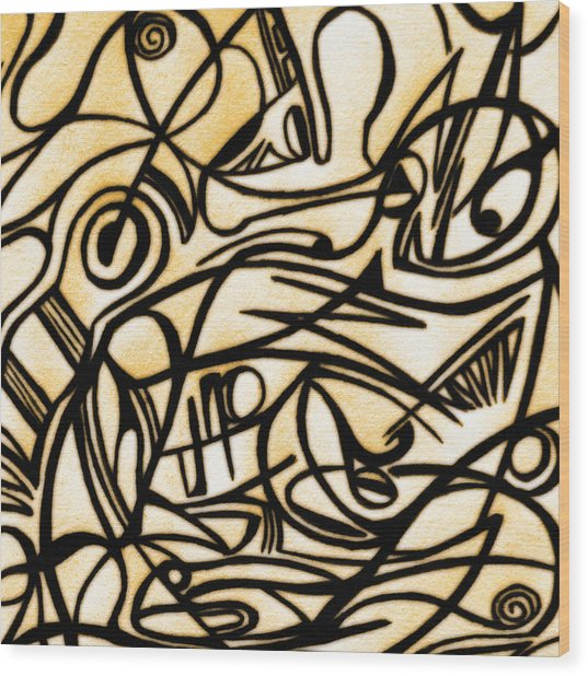 Abstract Art Gold 2 Wood Print