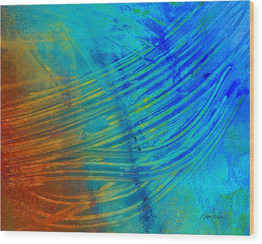 Abstract Art  Painting Freefall By Ann Powell Wood Print