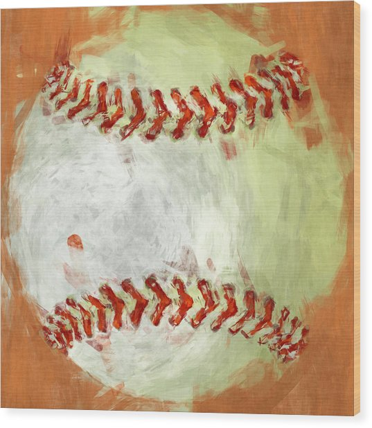 Abstract Baseball Wood Print