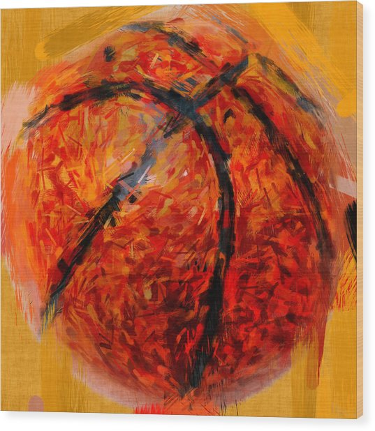 Abstract Basketball Wood Print