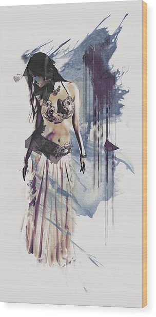 Abstract Bellydancer Wood Print