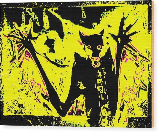 Black On Yellow Dog-man Wood Print