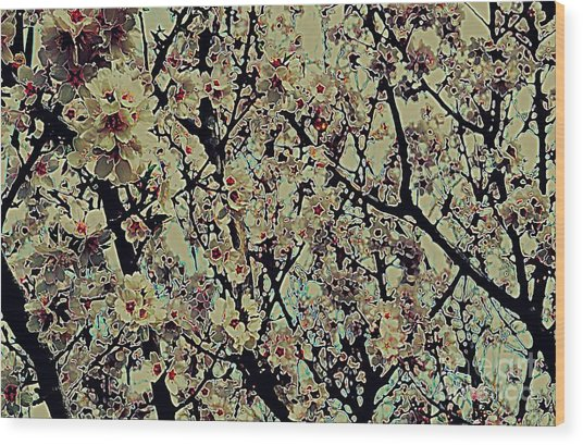 Abstract Blossoms Wood Print